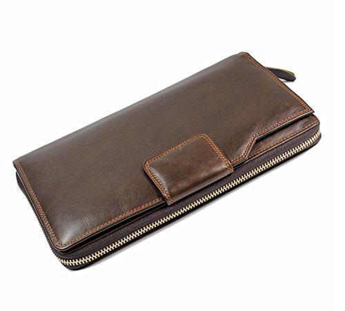 Everdoss pour l'homme , de qualité exellent de multipes compartiments,un portefeuille en cuir de vachette et cuir huilé,un porte-monnaie portable , un sac à main