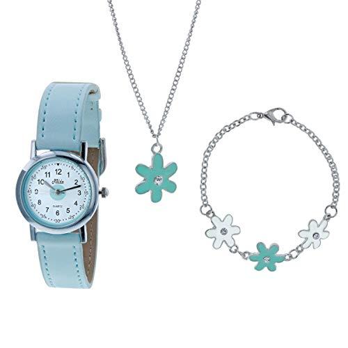 Relda Kinder blaue Blume Schmuck & Uhr, Halsekette, Armband Set für Mädchen