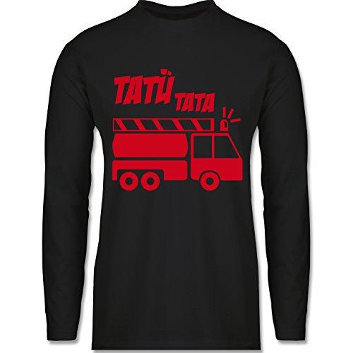 Shirtracer Feuerwehr - Tatü Tata - Herren Langarmshirt Schwarz