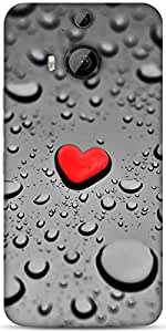 Snoogg Red Drop Heart Designer Protective Back Case Cover For HTC M9 Plus