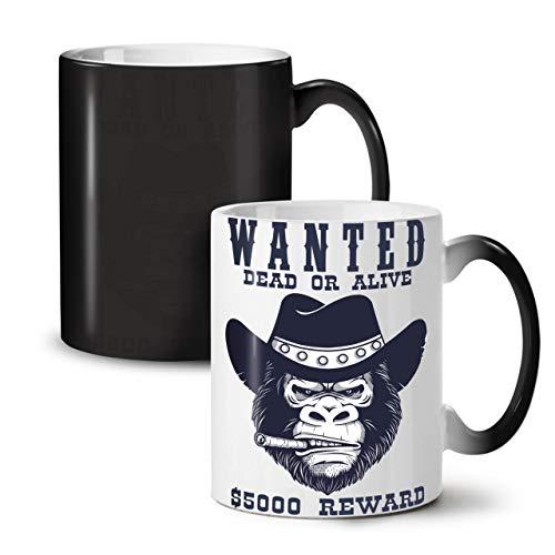 Wellcoda Cowboy Schlecht Gorilla Farbwechselbecher, Belohnung Tasse - Großer, Easy-Grip-Griff, Wärmeaktiviert, Ideal für Kaffee- und Teetrinker (Schwarze Cowboys Des Alten Westens)