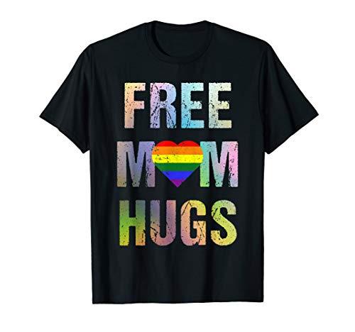Free Mom Hugs T-Shirt LGBT Gay Pride Vintage Distressed (Gras Outfits Mardi Ideen)