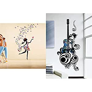 Decals Design 'Dreamy Girl with Flying Colourful Butterflies' Wall Sticker& Guitar Passion PVC Vinyl Wall Decal