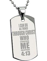 Acero Inoxidable Filipenses 4:13 Versículo de la Biblia Placa de Identificación del Colgante (Con el Grabado Personalizado)