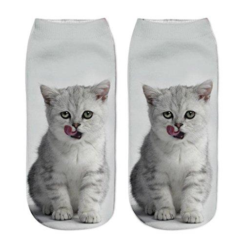 TPulling Frauen Mann Modisch und Edel Beruf Anzug Freizeit Funny Erwachsene Neutrale 3D-Katze Druck Socken Für Erwachsene Erwachsene Unisex Tier Pfote Crew Socken Sublimated Print (E) (Ferse Neutral)