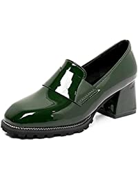 DIMAOL Zapatos de Mujer PU Confort Primavera Tacones Chunky Talón Square Toe For Casual Verde Negro