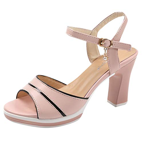 feiXIANG Damen Pumps Peep Toe for Wedding Party Fashion Shoes Frauen Sandalen Fischmaul High Heels (Rosa,39) -