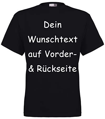FLOCKex Marken T-Shirt mit Wunschtext - Front- und Rückenprint - Schwarz XL - Sprüche indivduell auf Das T-Shirt Drucken Lassen | Personalisierter Textildruck