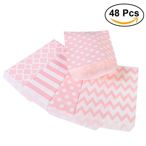 Preisvergleich Produktbild NUOLUX Treat Sacks,48pcs Wedding Candy Bar Bags Party Gift Bags Paper Bag (Pink)