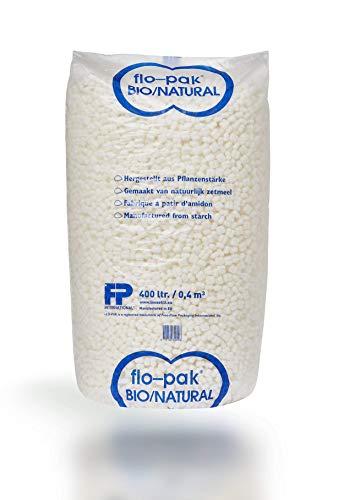 400 Liter Flo-Pak Bio Verpackungschips weiß   Füllmaterial (0,06€/Liter)   Verpackungsmaterial aus Maisstärke