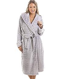 Camille - Robe de chambre pour femme - polaire douce - motif coeurs - Gris