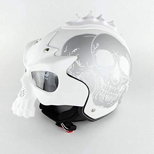 Motorrad Half Open Face Helm, DOT Zertifiziert Motorrad Roller Vintage Helm mit Abnehmbarer Maske und Anti-UV-Brille für Erwachsene/Jugendliche geeignet,S