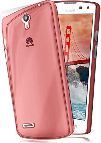 moex Huawei G610 | Hülle Silikon Transparent Rot Clear Back-Cover TPU Schutzhülle Dünn Handyhülle für Huawei Ascend G610 Case Ultra-Slim Silikonhülle Rückseite