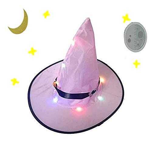 BriskyM Halloween Zauberer Hut für Erwachsene, Weihnachten Glowing Hexenhut Party Performance Hut Kostümzubehör für Party Cosplay (Pink, 1) (Deluxe Kinder Pink Hexe Kostüm)