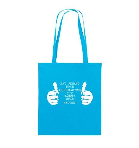 Comedy Bags - HAT JEMAND NOCH ARSCHKARTEN - Jutebeutel - lange Henkel - 38x42cm - Farbe: Schwarz / Pink Hellblau / Weiss