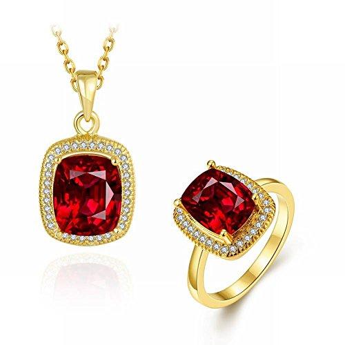 Klassische Mode Farbigen Edelstein Eingelegten Edlen Dame Halskette Ring 2 Sätze , Gold (Ringe Edelstein-hochzeit Farbige)