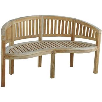 ambientehome teakholz gartenbank 3er bank bananenbank natur ca 150 cm. Black Bedroom Furniture Sets. Home Design Ideas