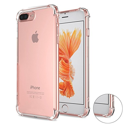 Preisvergleich Produktbild Roreikes Schutzhülle für iPhone 7 Plus Hülle (5.5 Zoll),  Crystal Ultra Clear TPU flexible transparent [Stoßdämpfung ] [Anti-Scratch] Bumper Schutzhülle für Apple iPhone 7 Plus (5.5 Zoll) - Transparent