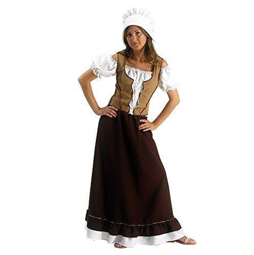 Carnival Toys 80031 - Mittelalterliche Magd, Damenkostüm mit Kopfbedeckung, XL