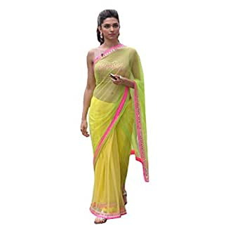 Fab Fiona Net Saree With Blouse Piece (Yellow_Free Size)