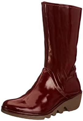 Fly London Pama Patent, Women's Boots, Burgundy, 5 UK