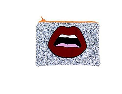 Handtasche Damentasche Clutch mit Glitzer und Reißverschluss ohne Träger Henkel Blau mit Glitzer