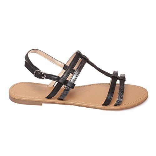 La Modeuse - Sandales plates en simili cuir bride en T Noir
