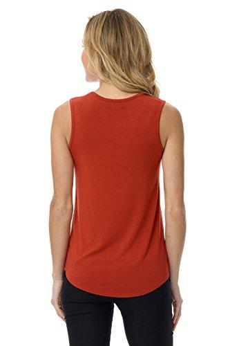 Rekucci Femme Débardeur T-Shirt Sans Manches Doux et Extensible Rouge