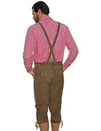 JP 1880 Herren große Größen bis 70 | Trachtenhose | braune Lederhose mit Stickereien & abnehmbaren Hosenträgern | Knöpfe in Horn-Optik | 705514