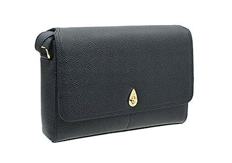 Tula NAPPA ORIGINALS Pebbled Leather Shoulder Bag 8479 Navy