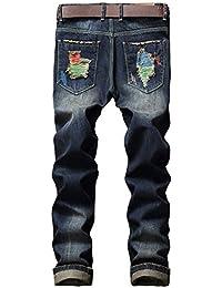 Yonglan Hombre Pintar Agujeros Parche Pantalones de la Moda Correa de Pantalones de Pierna Largo As Picture 31