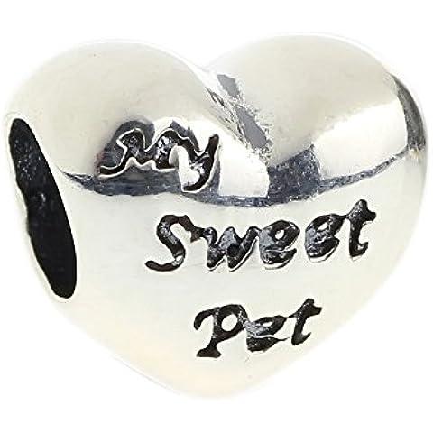 Hunter auténtico de joyería 925 cuentas de plata de ley de conejos y corazones de mascotas My Sweet colgante para pulsera Europea