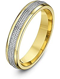 Theia His and Hers 14 ct Yellow and White Gold Two-Tone 4 mm Double Millgrain Wedding Ring