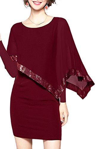 YMING Damen Chiffon Kleid mit Pailletten Elegante Bleistiftkleid Langarm Fifurbetontes Kleid,Burgundy,L/DE 40-42