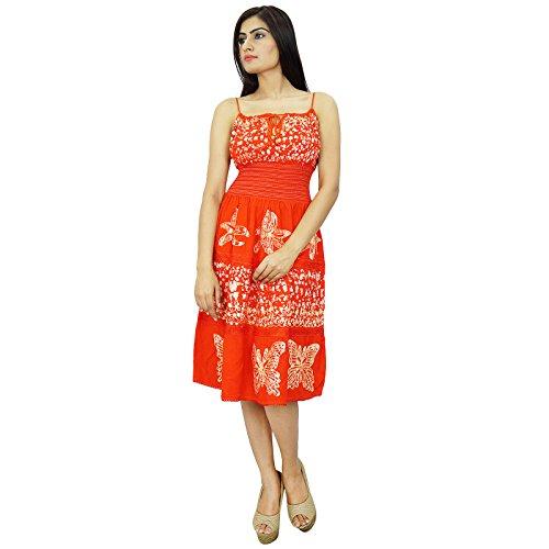 Batik Druck Rayon Kleid Smocked Kleid knielangen Sommerkleid tragen Orange