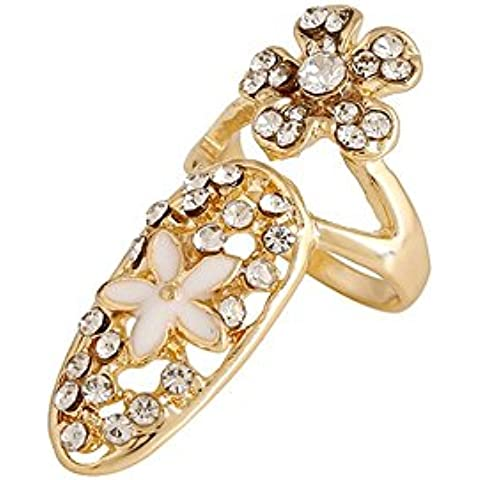 Chapado en oro de invierno S Secret Deluxe estilo Diamond Accented Flor Anillo de uña