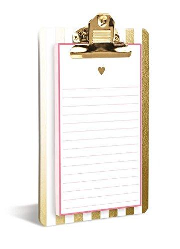 Clipboard: Gold Heart - Klemmbrett mit stilvollem Notizblock: Goldenes Herz: Praktisches Klemmbrett mit 80 passenden Blockseiten (Klemmbrett mit Notizblock) - Schreiben Auf Auf Blatt Sie Klammern