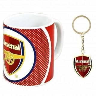 Offizielles Geschenkset bestehend aus Keramiktasse und Schlüsselanhänger im Design des Arsenal FC, Fassungsvermögen der Tasse: 313ml