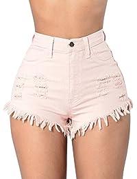 ad4bc59d135044 LAEMILIA Damen Jeans Hot Pants Quaste Destoryed Zerrissen Hohe Taille  Sommer Minijeans Kurz Hosen