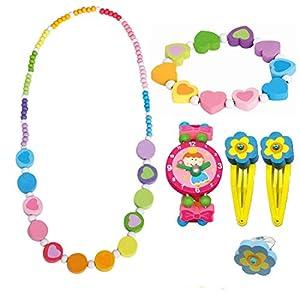 BINO 6 TLG. Set Holzschmuck Mädchenschmuck Kinderschmuck Motiv Regenbogen – Halskette Armband Blume Rosa Armbanduhr Ring 2 Haarspangen