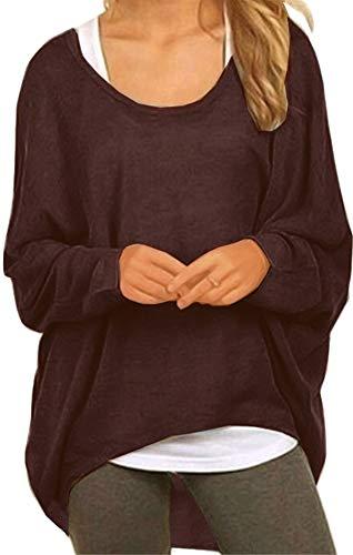 Meyison Damen Lose Asymmetrisch Sweatshirt Pullover Bluse Oberteile Oversized Tops T-Shirt Kaffee XXL