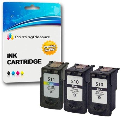 3 Druckerpatronen für Canon Pixma iP2700 MP230 MP240 MP250 MP252 MP260 MP270 MP272 MP280 MP480 MP490 MP492 MP495 MX320 MX340 MX350 MX360 MX410 MX420 | kompatibel zu PG-510 (PG510) CL-511 (CL511)