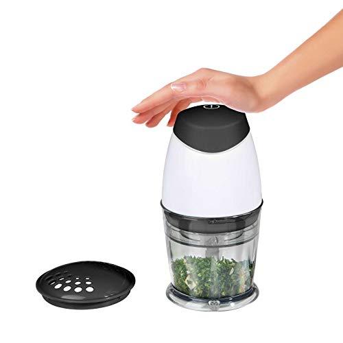 Zerkleinerer Küche Elektrisch Zwiebelschneider Gemüseschneider (Gemüsehäcksler, Behälter 250 ml, Edelstahl Messer, 160 Watt)