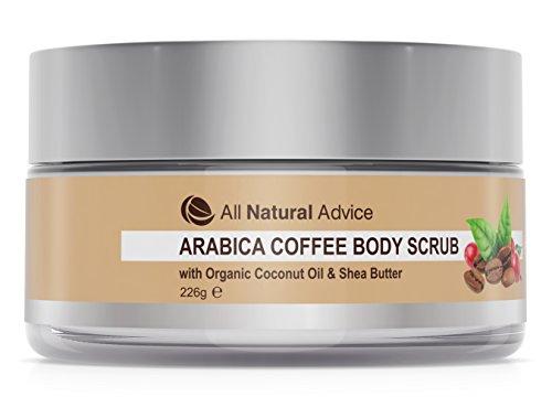 Arabica-Kaffee-Peeling von All Natural Advice mit Bio-Kokosöl und Sheabutter | Aus kanadischer Herstellung | Organisch | Peeling gegen Mitesser | Zur Behandlung von Akne, Cellulite, Dehnungsstreifen