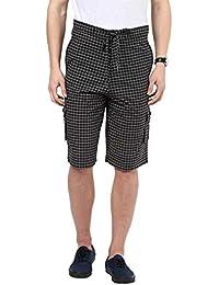 Hypernation Black And White Checkered Cotton Three Fourth