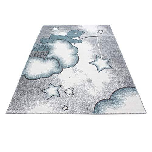 Carpet 1001 Kinderteppich Kinderzimmer Teppich mit Motiven Katze Kids-580 Blue - 120x170 cm