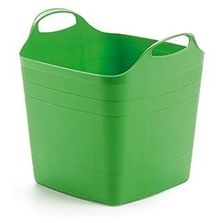 Flexibler Korb mit 40 Liter Volumen und zwei robusten Griffen. In peppigem Grün! Toll für Haushalt & Garten!