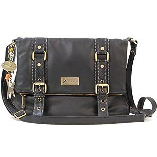 Catwalk Collection Handbags - Women's Leather Cross Body Bag - ABBEY ROAD - Black
