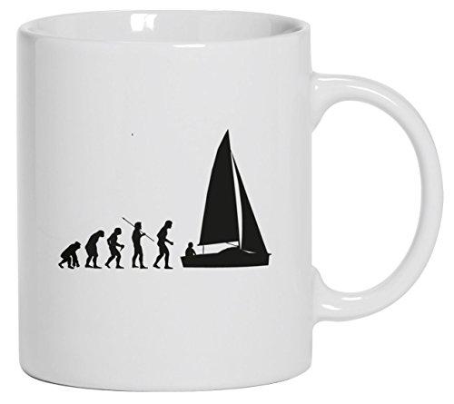 Lustige Kaffeetasse Kaffeebecher mit Evolution Segler Motiv, Größe: onesize,Weiß