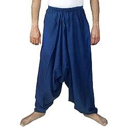 Sarjana Handicrafts Pantalones bombachos para hombres, de algodón, estilo genio, de yoga, harem, Hombre, color azul marino, tamaño XL